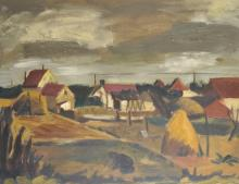 P... Kirin (20th Century) French. A Farm Scene, with a Figure in the foreground, Oil on Canvas, Signed, 23.5