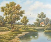P... Kleven (20th Century) Dutch. A River Landscape, with Swans in a Pond, Oil on Canvas, Signed, Unframed, 19.75