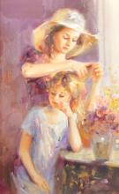 20th Century Russian School. Two Girls in an Interior, Oil on Canvas, Signed with Initials 'IZ', and Inscribed on the reverse, 18.5