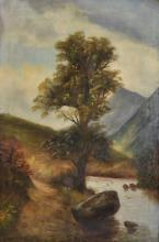 R... Dell (20th Century) British. A Rocky River Landscape, Oil on Canvas, Signed on the reverse, Unframed, 30