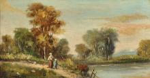 E... Jones (19th - 20th Century) British. A River Landscape, with Figures on a Path, Oil on Board, Signed and Dated '02, 7