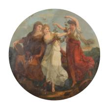 Manner of Angelica Kauffman (1741-1807) Swiss. Three Dancing Maidens, Oil on Canvas, Painted Circular, Unframed, 25