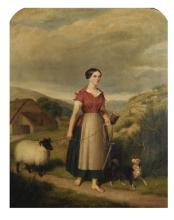 J... A... Stewart (19th Century) British. A Landscape with a Farm Girl Leading a Sheep, with a Dog by her side, Oil on Canvas, Signed and Dated 1854, Arched, 30