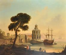 Late 18th - Early 19th Century Italian School. A Capriccio Coastal Scene, Oil on Canvas, 25
