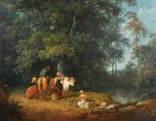 Attributed to George Morland (1763-1804) British. 'The Farmer with His Milkmaids', Oil on Canvas, 19