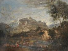 18th Century Italian School. A Classical Landscape with Figures, Oil on Canvas, Unframed, 28.75