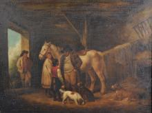 After George Morland (1763-1804) British. Interior of a Barn, with Figures, Oil on Canvas, 18