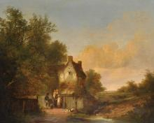 Early 19th Century English School. A River Landscape, with a Musician and Dog, in Conversation with a Mother and Children by a Cottage, Oil on Canvas, 25