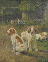 P... Roach (20th Century) British. A Farm Scene with Puppies, Oil on Canvas, Signed, 20