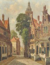 Heen Hoven (20th Century) Dutch. A Street Scene with Figures, Oil on Canvas, Signed, 20