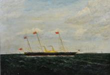 R... Overton (20th Century) British. A Steam and Sail, Oil on Artist's Board, Signed and Indistinctly Dated, Unframed, 14