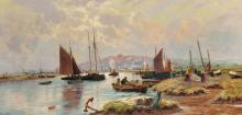 Sydney Pike (1858-1923) British. A Coastal Scene with Shipping, and Fishermen bringing in the nets, Oil on Canvas, Signed, 12