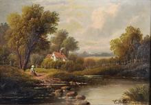 Etty Horton (act.1884-1918) British. A River Landscape with a Figure on a Path, a Cottage Beyond, Oil on Canvas, Signed, 10