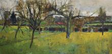 20th Century French School. An Orchard, with a Lake and Houses in the distance, Oil on Board, 18