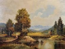 Ludwig Fahl (20th Century) Continental. A Mountainous River Landscape, Oil on Canvas, Signed, 24