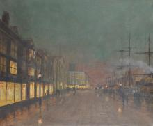 After John Atkinson Grimshaw (1836-1893) British. A Moonlit Street Scene, with Figures, Oil on Canvas, 20