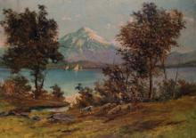 S... Ronzoni (19th - 20th Century) Italian. A Mountainous River Landscape, with Shepherd and Flock, Oil on Canvas, Signed, 27.5