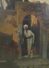 20th Century European School. An Arabian Figures Standing in an Arch, with a Pipe, Oil on Canvas, Indistinctly Signed, 38