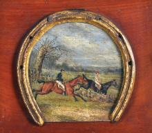 19th Century English School. A Steeple Chase, Oil on Board, Shaped in a Horse Shoe, 4.25