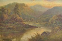 Charles Leader (19th - 20th Century) British. A Mountainous River Landscape, Oil on Canvas, Signed, 12