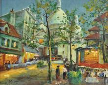 Charles Blondin (1913-    ) French. 'Montmartre', an Evening Street Scene with Figures, Oil on Canvas, Signed, 13