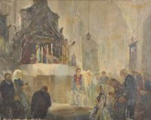 20th Century Hungarian School. A Church Interior with Figures Praying, Oil on Canvas, Indistinctly Signed, Unframed, 15.5