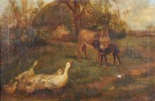 William Henderson of Whitby (1844-1904) British. 'The Introduction', a River Landscape, with Geese and Donkeys, Oil on Canvas, Signed, 12