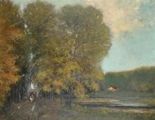 Maurice De Meyer (1911-1999) French. A Wooded River Landscape, with a Horse and Carriage, Oil on Canvas, Signed, 27.5