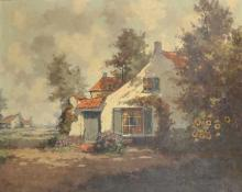Henri Joseph Pauwels (1903-1983) French. A Landscape with a Cottage in the foreground, Oil on Canvas, Signed, 27