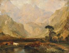 Circle of William McEvoy (act.1858-1880) British. A Highland River Landscape, with Cattle, Oil on Board, Unframed, 9.5