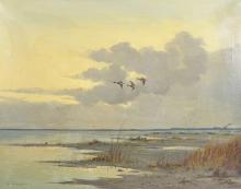 G... Stevens (20th Century) British. Ducks in Flight, Oil on Canvas, Signed, 24