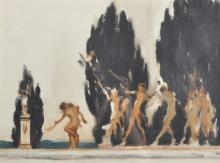 Attributed to John Lavery (1856-1941) Irish. A Naked Procession, on a Tree Lined Terrace, Oil on Canvas laid down, Signed, 9