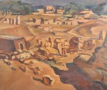 Early 20th Century French School. A North African Village Scene, Oil on Canvas, Indistinctly Signed, 20