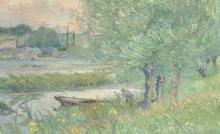 Block (19th - 20th Century) Belgian. A River Landscape, with a Figure in a Punt, Oil on Canvas, Indistinctly Signed, 18.5