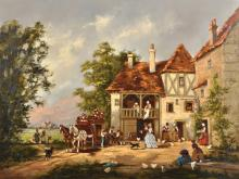 Barbara Gudrun Sibbons (1925-    ) German. An Inn Scene, with Elegant Figures, a Coach, with Numerous Figures and Chickens in the foreground, Oil on Canvas, Signed, 20