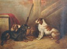 George Armfield (1808-1893) British. An Interior Scene with Three Spaniels and a Gun, Oil on Canvas, 12