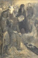 Cyrus Cincinnati Cuneo (1879-1916) American/British. Lowering a Coffin, with Uniformed Soldiers, Oil on Board, Signed, 11.75