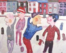 Fred Yates (1922-2008) British. Figures in a Street, Oil on Canvas, 20