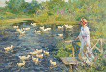 Vladimir Goussev (1957-    ) Russian. A River Landscape, with a Lady on a Jetty Dressed in White, and Ducks in a Pond, Oil on Artist's Board, Signed in Cyrillic, and Signed and Inscribed in Cyrillic on the reverse, 15