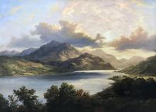 Frederick Lee Bridell (1831-1863) British. 'A Highland Loch Scene', Oil on Canvas, Signed and Dated 1856, 28