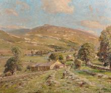 """Herbert Royle (1870-1958) British. """"Haymaking near Burnsall (Yorkshire)"""", Oil on Board, Signed, and Inscribed on the reverse, 20"""" x 24""""."""