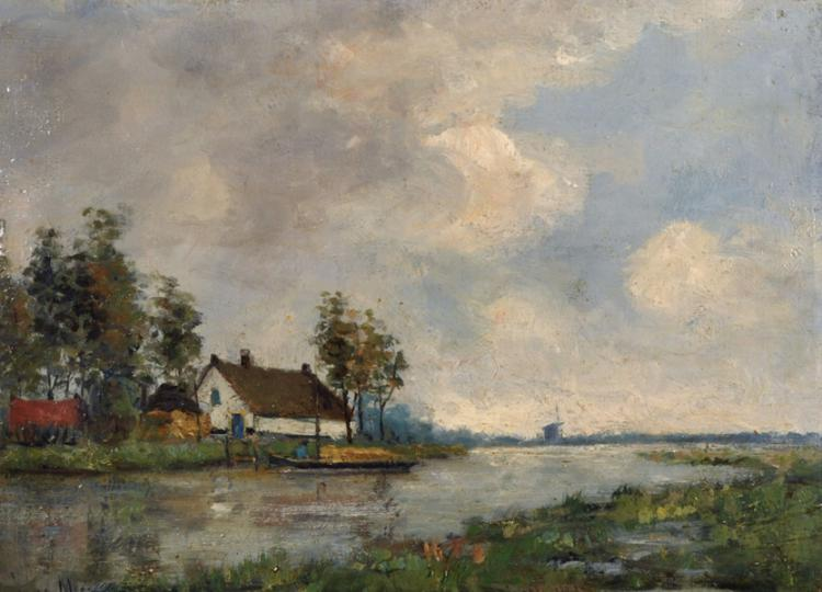 Johan Hendrik Lodewijk Meer (1915-1957) Dutch. A River Scene, with a Barge by a Cottage, Oil on Board, Signed, 9.5