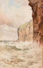 "Arthur Suker (1857-1902) British. A Coastal Landscape, Watercolour, Signed with Monogram, 9.5"" x 6""."