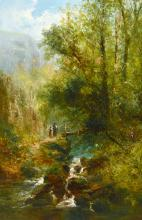 William Widgery (1822-1893) British, Figures approaching a bridge by a waterfall with trees and mountains, oil