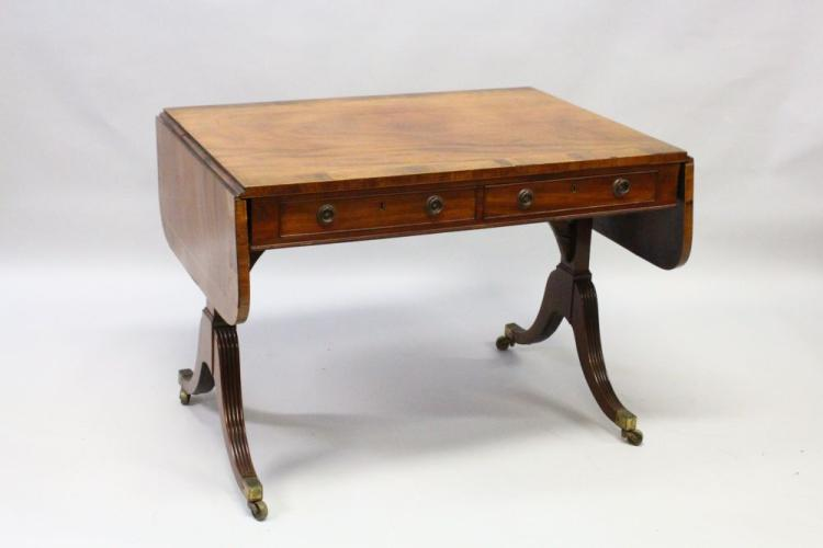 A good regency sofa table with folding flaps crossbanded to for 4ft sofa table