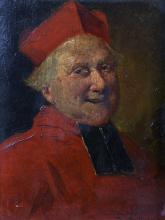 "Bernard Louis Borione (1865-?) Italian. Bust Portrait of a Cardinal, Oil on Panel, Signed, 7.5"" x 5.5""."