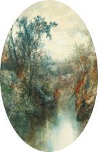 "William Widgery (1822-1893). A River Landscape, Watercolour, Oval, 17"" x 11""."