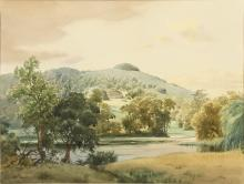 "Charles William Taylor (1878-1960) British. 'Chanctonbury Ring and Wiston Lake', Watercolour, Signed, 11"" x 14"