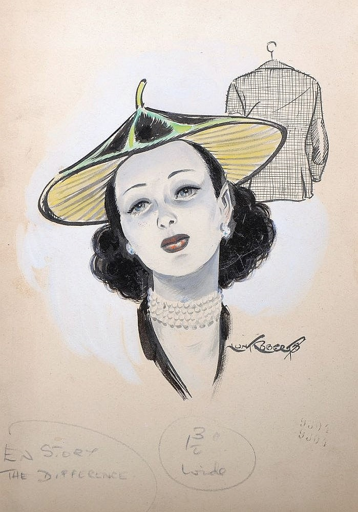 Richard John Lunt Roberts (1894-1981) British. Head Study of a Lady wearing a hat, Mixed Media, Signed and Inscribed 'En