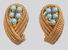 A PAIR OF CHRISTIAN DIOR 1959 GILT AND TURQUOISE SCROLL EAR CLIPS.